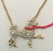 Betsey Johnson B13447-N01 Granny Chic Poodle & Pearl Gold-Tone Pendant Necklace