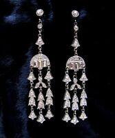 "Art Deco Long Rhinestone Earrings 1930s Pendant Vintage Pot Metal 3.25"" Flapper"