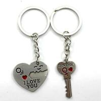 New Heart Design Lover Couple Metal Keyring Key Chain Ring Keychain Craft Gadget