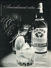 PUBLICITE ADVERTISING  1963   OLD NICK  rhum BARDINET de la Martinique