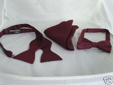 Burgundy Pre-tied OR Self-tie Polyester Bow tie and Hankie Set>P&P 2UK>1st Class