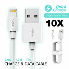 10 x CRAZY USB Data Sync Lightning Charger cable for iPhone 7 6S 5S 5C iPad iPod