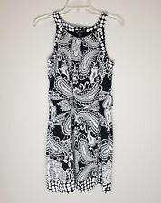 Style & Co Womens Black White Paisley Sleeveless Dress SZ S
