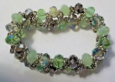 & Silver Tone Chain Stretch Bracelet Vintage Green, Clear & Silver Tone Beads