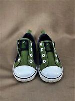 Gymboree Boys Slip-On Navy/Olive Dinosaur Laceless Sneakers Shoes Size 7 - VGUC