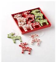 Set of 24 Heaven Sends Wooden Reindeer Christmas Tree Decorations - Hanging Decs