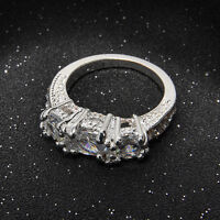 Chic Women/Girls Silver Plated Crystal Rhinestone Wedding Ring Jewelry Hot Sale