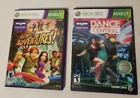 Lot Of 2 Kinect Adventures! And Dance Central Games COMPLETE