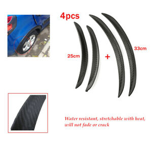 4x Black  PVC Carbon Fiber Body Kits Fender Flares Wheel LIP Car Truck Part Auto