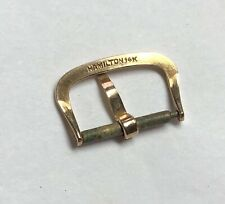 Excellent Vintage Hamilton 14K Solid Gold Watch Band Buckle 16mm Opening