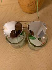 Panama Jack Metal Silver Aviator Oval Eye SunglassesW/ Sliver Mirrored Lenses