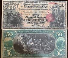 Reproduction $50 National Bank Note 1875 1st Nat Bank Cleveland, OH Copy USA