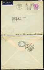 HONG KONG 1952 KG6 AIRMAIL 50c SOLO FRANKING to INDIA...CHARTERED BANK ENVELOPE