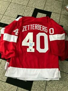 ZETTERBERG AUTOGRAPH / SIGNED CUSTOM JERSEY XL DETROIT RED WINGS SYA
