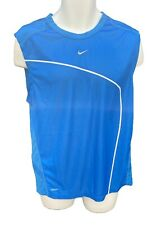 New NIKE TRAINING Mens DriFit Running Gym Fitness Top Shirt Vest Azure Blue L