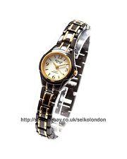 OMAX Reloj con Cuadrante Blanco señoras, Negro/Oro acabado, SEIKO (Japón) Movt. RRP £ 49.99
