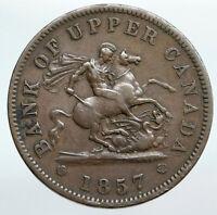 1857 UPPER CANADA Antique UK Queen Victoria Time PENNY BANK TOKEN Coin i90346