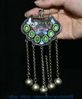 4 8  Old Chinese Enamel Silver inlay Color Jade Gem Dynasty Butterfly Pendant