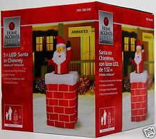 Home Accents 5 ft Lighted Animated Santa in Chimney Airblown Inflatable NIB
