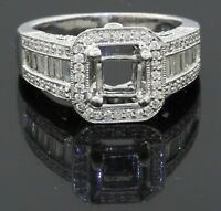 Heavy 14K white gold 1.58CT VS diamond cluster semi-mount ring size 5.5