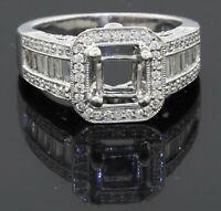 Heavy 14K white gold 1.58CT VS diamond cluster semi-mount ring size 5.5