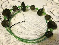 Handmade Memory Wire Necklace With Large Dark Green Beads & Green Seed Beads.