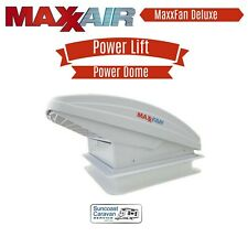 MaxxFan Deluxe with Rain Dome Vent Thermostat Power Lift & Remote Caravan Rv