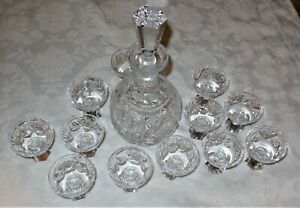 GERMANY KING EDWARD LEAD CRYSTAL DECANTER AND CORDIALS