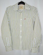 Hollister CA Shirt White/Olive Green Stripe Cotton Button Front LS Men's S