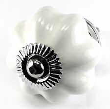 Porcelain Cabinet Knobs, Closet Handles and Vintage Chrome Drawer Pulls Set/12