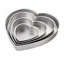 "Wilton Heart Shaped Cake Pans Set 4  New 6,10,12,14 deep 2"" Wedding 2105-606"