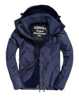 New Mens Superdry Pop Zip Hooded Technical Windcheater Jacket Navy Harringbone