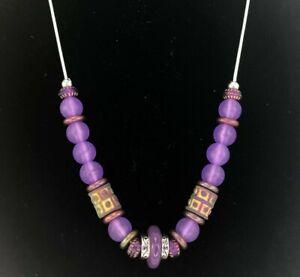"Purple Sea Glass Bead Necklace Sliver Tone 24"" Chain Handmade"