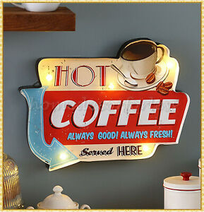 Lighted Vintage Retro Metal Coffee Sign Light Box Kitchen Cafe Bar Wall Decor