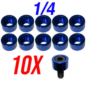 "1/4"" Blue Allen Head Cups Hex Head Bolt Cup Washer Bolt Cover Engine Dress Up"