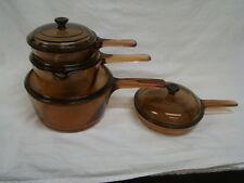 VTG Corning Vision Visions Pyrex Amber Glass Cookware 8 Pc Set Pots Pans w/Lids