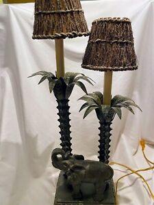 Elephant Table Lamp Africa Safari Wildlife Animal Palm Trees Grass hut Shades