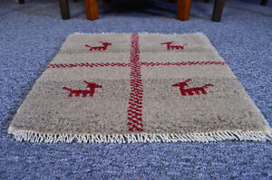"Oriental Hand Knotted Smoky Traditional Wool Tribal Gabbeh Area Rug 1'3""x1'3"""