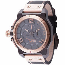 Haurex Italy Men's 6N510UNN Space Chrono Rose-Gold IP Black Leather Wristwatch