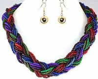 """Women's Necklace Earrings Multi Color Gold Bead Braided 20""""L Alloy Jewelry Set"""