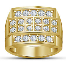 14K Yellow Gold Finish Men's Round Cut Diamond Engagement Wedding Band Ring