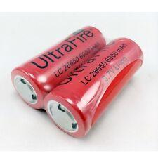 2x 26650 Recargable Li-Ion Batería 3.7V 6000mAh para Linterna Antorcha en Reino Unido