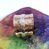 Copper Band & 925 Sterling Silver Meditation Spinner Ring All Size Handmade U81