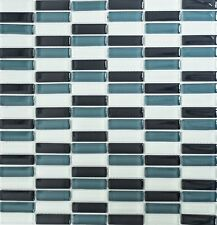 Glasmosaik Crystal Stick weiß grau schwarz Stabmosaik | Art: 77-0204 | 1 qm