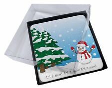 4x Snow Man Picture Table Coasters Set in Gift Box, Snow-1C