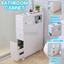 US Bathroom Floor Cabinet Storage Organizer Stand Sofa Side End Table Wheeled