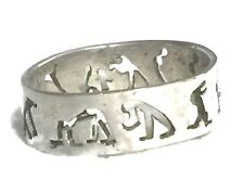 Vintage Stick Figures People Dogs Sterling Silver Pinky Ring Band Size 6.75