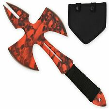 Red Skull Medieval Style Throwing Axe with Wearable Sheath
