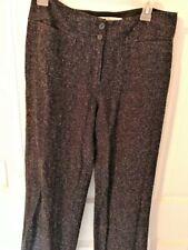 David Brooks Women's Wide Leg Tweed Casual Dress Work Pants Sz 8  Black White