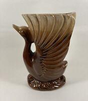 """Swan Vase/Planter Brown Drip Glaze Japan 6 """" Bird Mid Century Vintage"""